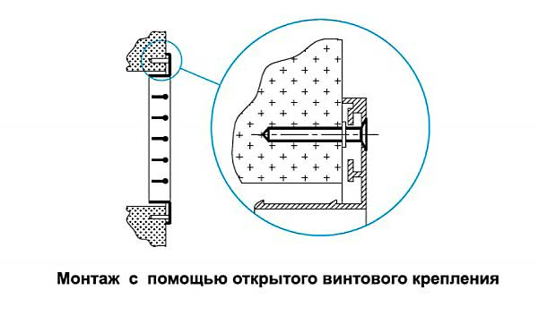 Монтаж решетки РА2, открытое винтовое крепление